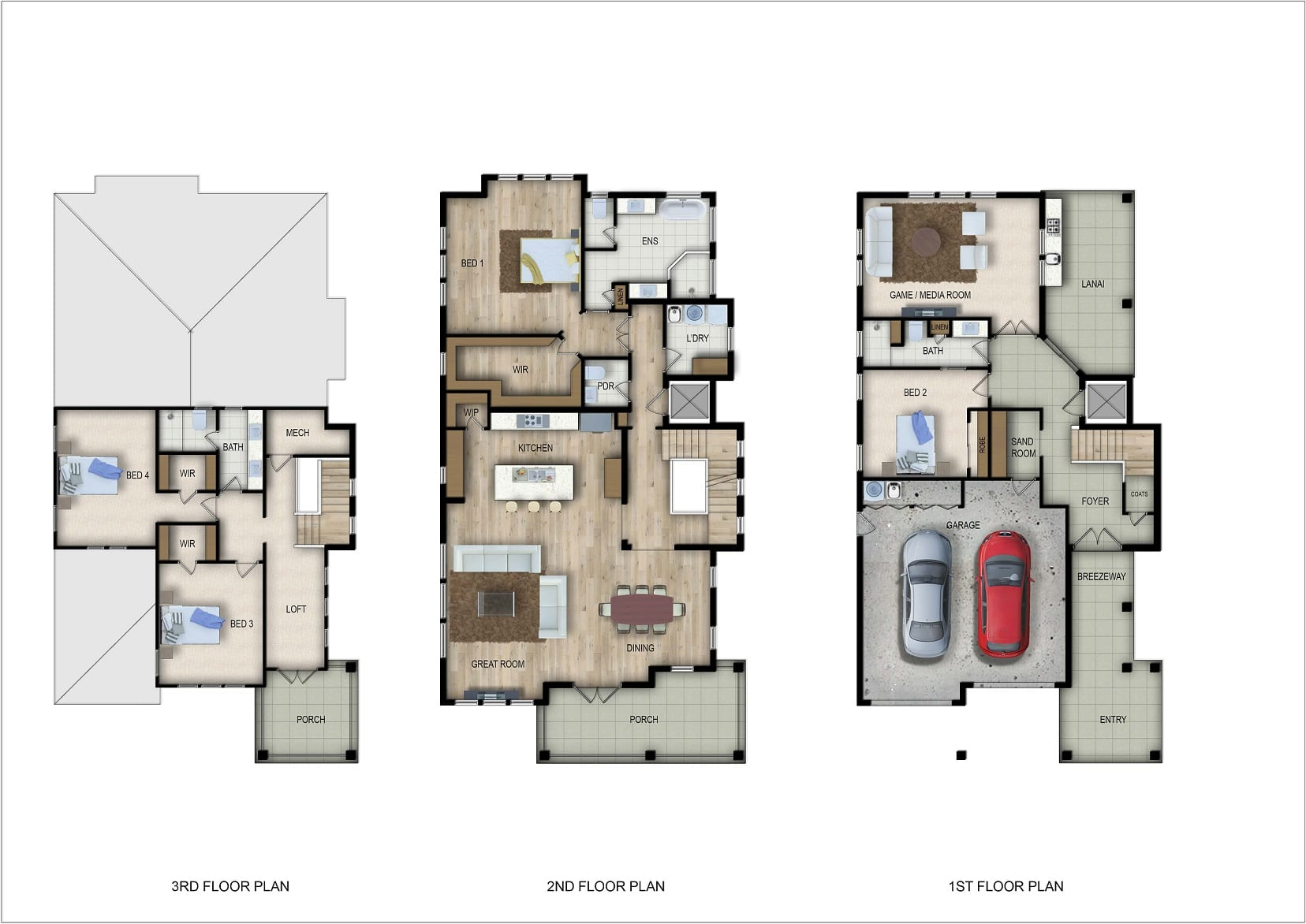 Floor plans of a custom built home in South Jacksonville Beach at 37th Avenue South