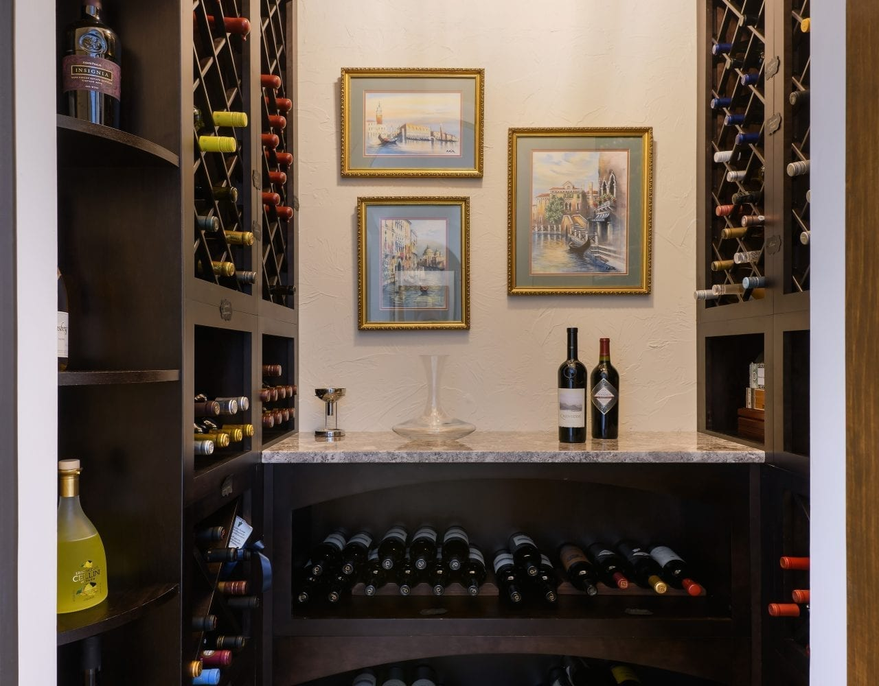 Wine cellar at a custom home in Ponte Vedra built by Denneen Custom Homes